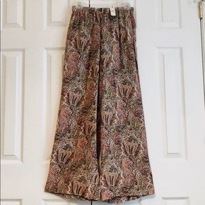 Talbots Silk Wide Leg Paisley Print Stretch Pants